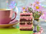 Рiece of chocolate cake with strawberry souffle