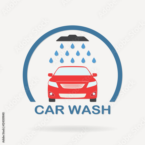 Papiers peints Nautique motorise Car wash icon or label with auto shower and water drops. Colorful vector illustration of washing vehicle symbol in flat design.