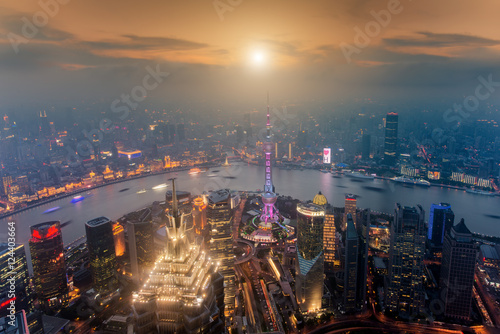Poster Shanghai skyline cityscape, Aerial view of shanghai at Lujiazui