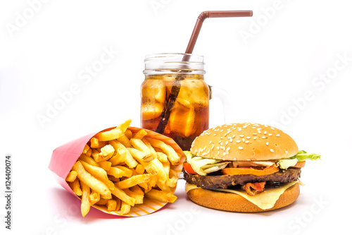 Poster tasty hamburger, French fries and cola isolated on white background