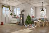 Skandinavisches, nordisches Wohnzimmer mit einem Sofa, Kamin und weihnachtlicher Deko. - 124409884