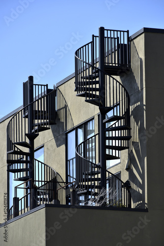 Poster  fire escape in  San Francisco , building with windows and emerg