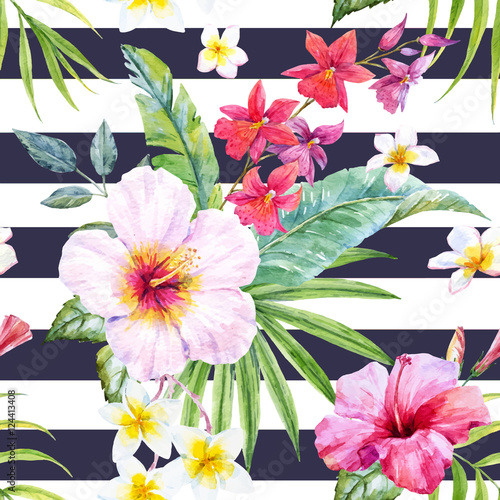 Stoffe zum Nähen Aquarell tropischen Blumenmuster