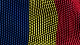 Flag of Romania, consisting of many balls fluttering in the wind, on a black background. 3D illustration.