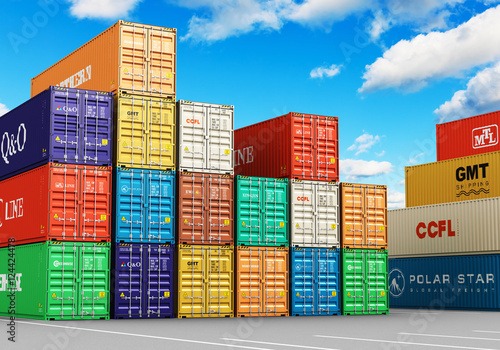 Aluminium Stacked cargo containers in freight sea port terminal