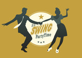 Fototapety Swing Party Time: Young couple silhouette dancing swing, rock or lindy hop