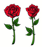 Red rose cartoon - 124428426