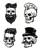 set of skull illustration