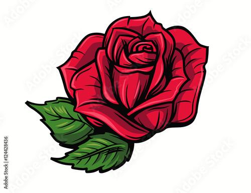 Red rose cartoon - 124428436