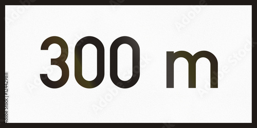 Poster Hungarian supplementary road sign - 300 meters