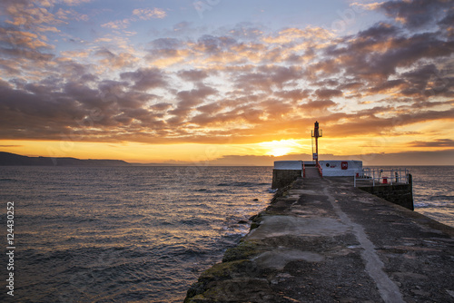 Poster Sunrise with Pier in foreground and beautiful cloudy sky , Looe, Cornwall, UK