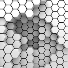 Abstract Hexagon Chaotic Pattern Wall Background