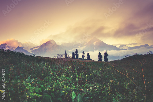Sunset Mountains beautiful landscape summer travel scenic view