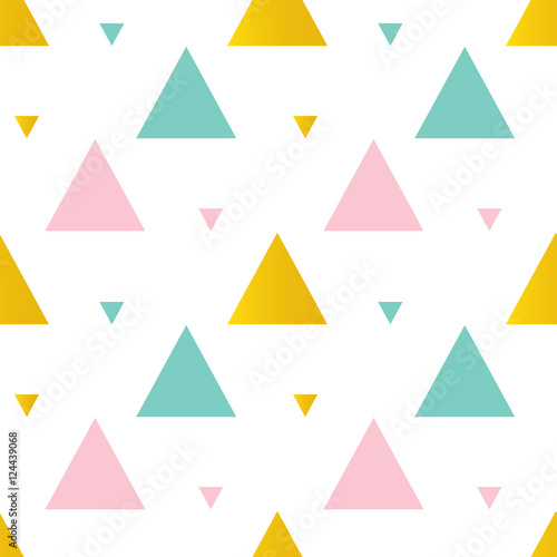 Cute pink, mint green and gold triangles seamless pattern background. - 124439068