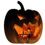 Goblin Living in a Halloween Lantern - fantasy illustration