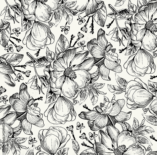 Classic pattern. Beautiful flowers dogrose, rosehip, brier isolated realistic. Vintage background with blooming flowers. Drawing, engraving. Freehand. Wallpaper. Vector victorian style Illustration.