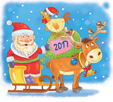 New 2017 Year. Christmas. Greeting card. Cute funny Santa in the sledge with reindeer, rooster and bag with Christmas gifts. Coloring book. Coloring page. Funny cartoon characters. Year of rooster