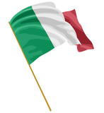 3D Italian flag with fabric surface texture. White background. Image with clipping path