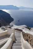 landscape with steps in Oia on Santorini - 124457498