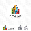 Abstract city building logo design concept. Symbol icon of residential, apartment and city landscape.