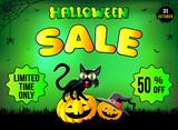 Хэллоуин, смешной кот сидит на тыкве, распродажа товаров, скидка иллюстрация, плакат, зеленый фон.