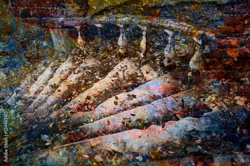 Tuinposter Fantasie Landschap fantastic staircase, bright multicolored abstract art background