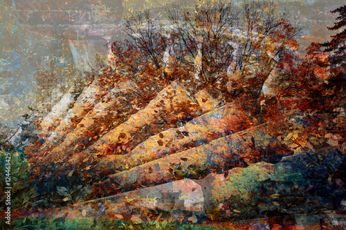 Deurstickers Fantasie Landschap double exposure - stone staircase and a mysterious forest