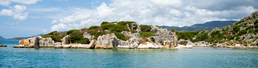 Fototapeta błękitna woda i wyspa panorama