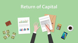return of capital illustration with business man working on paper document graph   money and signing a