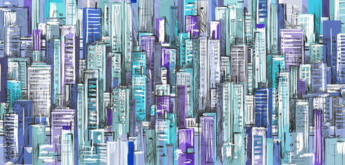 Background of cityscape,  hand drawn illustration