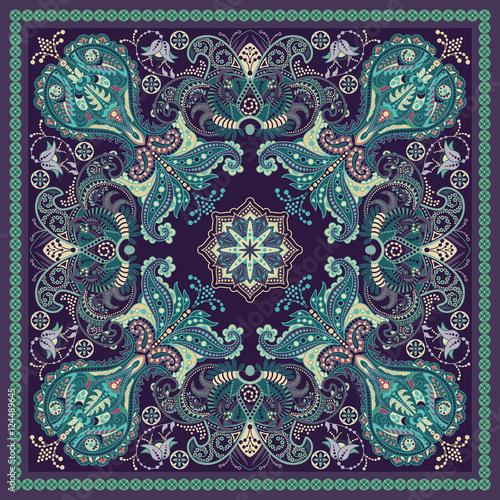 Design for square pocket, shawl, textile. Paisley floral pattern - 124489645