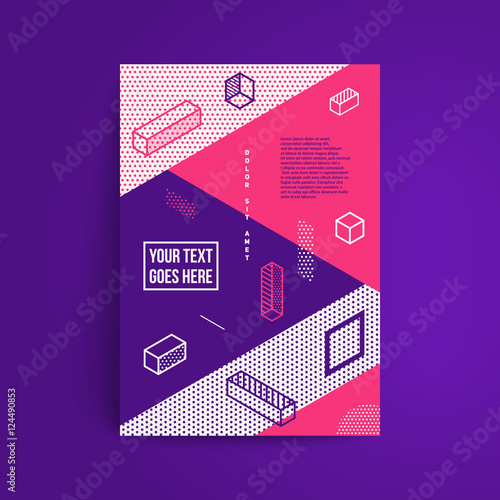 Future minimal geometric backgrund. Simple isometric shapes composition. Hipster colors. Original trendy design. Vector template. © plasteed