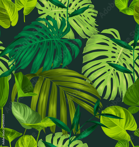 Cotton fabric tropical leaf pattern2