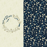 vector set with seamless field flower pattern and a card with circle flower frame - 124495853