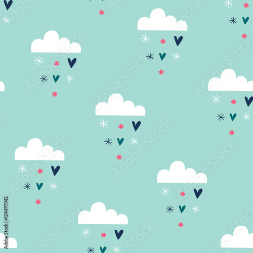 seamless winter snowflakes and clouds pattern vector illustration - 124497042