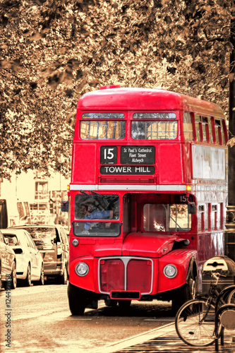 Poster Old Red Double Decker Bus in London, UK
