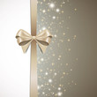 Vector Illustration of an Abstract Christmas Greeting Card with Sparkling Stars and Festive Ribbon
