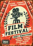 Grunge retro film festival poster. Vector illustration.