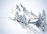 Fototapety Winter landscape in the mountains. A cabin in the snow