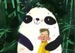 watercolor panda vector illustration