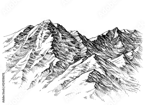 Mountains sketch. Mountains ranges hand drawing - 124518678