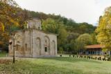 Autumn panorama of Zemen Monastery, Pernik Region, Bulgaria