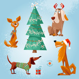 Holiday for dogs. Four dogs and the Christmas tree decorated with bones. Christmas greeting card.
