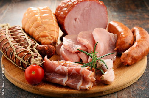 Meat products including ham and sausages Poster