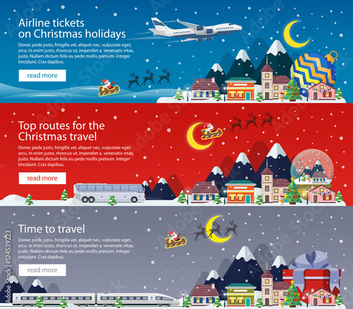 Deurstickers Lavendel Merry Christmas banners in flat style. Traveling by plane, bus and train. A small town in mountains. The winter vacation. Mountains, buildings, trees and snow. Christmas travel vector illustration