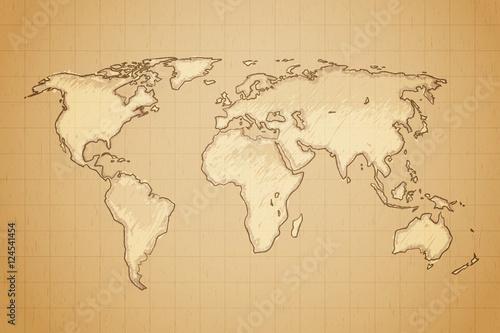 Vintage retro textured old world map vector illustration