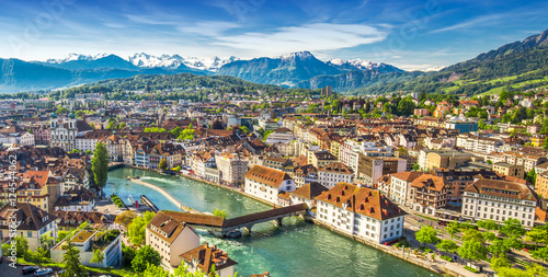 Pilatus mountain and historic city center of Lucerne, Central Switzerland Poster