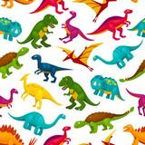 Cartoon dinosaurs children seamless pattern