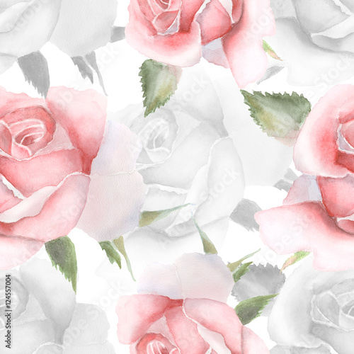 Seamless pattern with pink watercolor roses. - 124557004