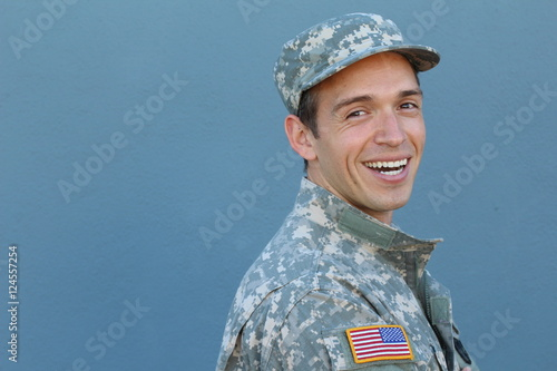Happy healthy ethnic army male soldier Poster